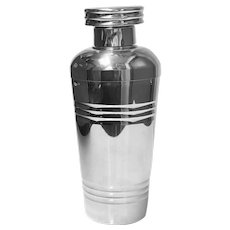 Art Deco French Large Silver Plate Cocktail Shaker, C.1930, Original Box