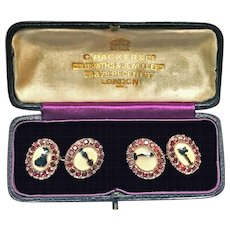 Pair of Georgian Ruby Moss Agate Cufflinks in gold, English C.1800