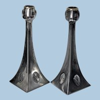 Pair WMF Art Nouveau Jugendstil Pewter Candlesticks, Albin Muller, Germany C.1906