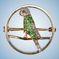 Parrot Pin Diamond Ruby and Demantoid  , 1890-1910.