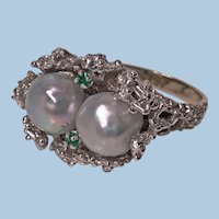 Abstract Modern Nugget 14K white Gold, Pearl and Emerald Ring, C.1970