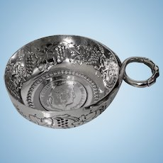 Antique large French Silver Wine Taster, C.1890, HN in lozenge