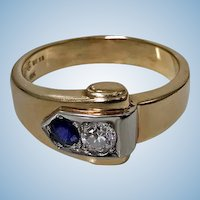 Sapphire and Diamond Ring 18K and 10K Gold, 20th century