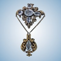 Antique 15K Aquamarine brooch, English C.1840