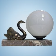 French Art Deco Swan Lamp C.1930