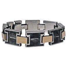 1960's Modernist 18K and Sterling handmade Bracelet