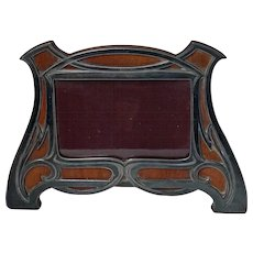 W.M.F Art Nouveau Jugendstil polished pewter wood photograph frame, C.1900