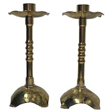 Pair of Arts and Crafts Brass Candlesticks, C.1910