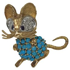1970's whimsical Mouse Brooch Pin 18K Diamond, Turquoise and Sapphire