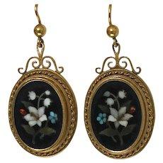 Pair of Antique 18K Pietra Dura Earrings, C.1875