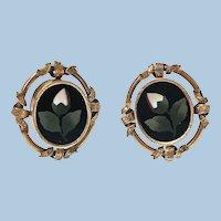 Pair of Antique 14K Pietra Dura Earrings, C.1875