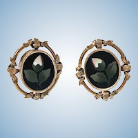 Pair of Antique 14K Pietra Dura Earrings, C.1875