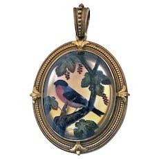 Very Fine 19th century Gold Reverse Intaglio painted Crystal `Essex Crystal' large Pendant, English, C.1880