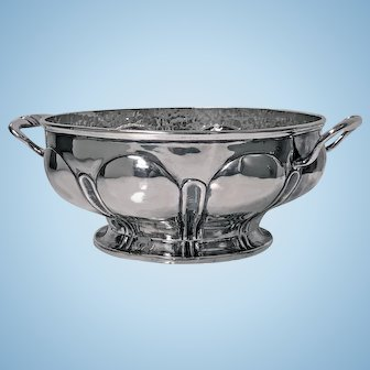 1940's Mexican hammered and polished Silver Bowl, Mendoza, C.1940