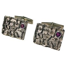 1970's Birks Gold and Ruby Cufflinks