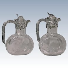 Pair Art Nouveau Silver and Glass Claret Jugs, Germany C.1900