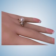 Early 20th century Diamond and Pearl 18K Ring, C.1920