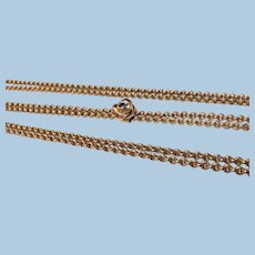 14K Long Muff Chain, slider clasp C.1920.