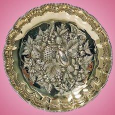 Fine Antique English Silver Gilt Fruit Bowl, 1911 James Dixon & Sons