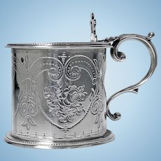 Antique Silver large Victorian Mustard Pot, 1866, Martin Hall & Co.