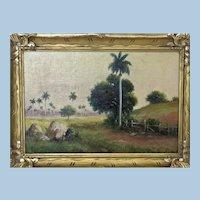 Cuba Oil on Canvas on board Juan Gil Garcia (1879-1930) Landscape with Palms