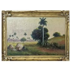 Juan Gil Garcia (Cuban, 1879-1930) Landscape with Palms Oil on Canvas on board