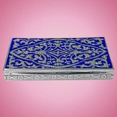 Continental Silver and royal blue Enamel Box, C.1920.
