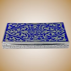 Continental Silver and royal blue Enamel Box, C.1920.