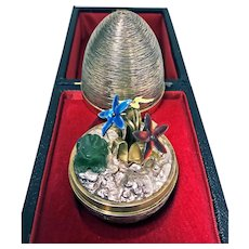 Rare Stuart Devlin Frog and Flowers surprise egg, London 1975.