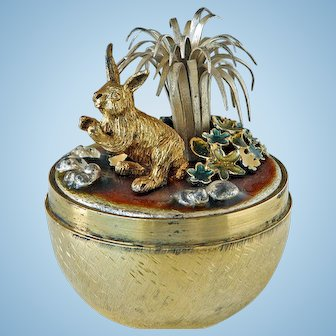 "Stuart Devlin Sterling Surprise Egg, ""Rabbit and Flowers"", London 1982"