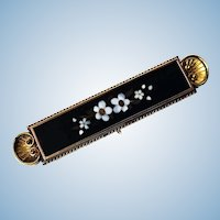 Antique Gold Pietra Dura Brooch Pin, Italy C.1875