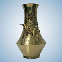 Art Nouveau Brass Kingfisher Vase, C.1920