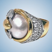 1960's Mabe Pearl Diamond 18K Ring.