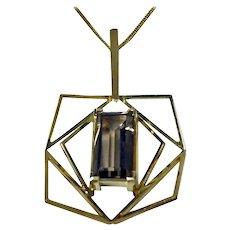 1960s Quartz Gold Abstract Pendant Necklace