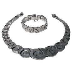 Fantastic heavy 1970's Vintage Mexican Sterling Necklace and Bracelet.