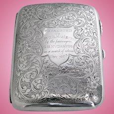 Antique Sterling Silver Cigarette Cigar Case Birmingham 1901 Samuel Levi