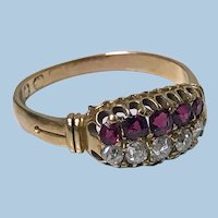 Antique  Ruby, Diamond 18K Ring, Birmingham 1899