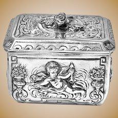 Fine Quality Antique Silver Casket type Box, Germany C.1890