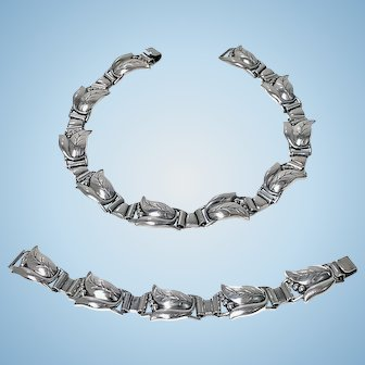 Georg Jensen Sterling convertible tulip bud Necklace and Bracelet, C.1940