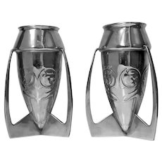 Archibald Knox for Liberty and Co. Pair  iconic Pewter Bombe Vases  C.1902