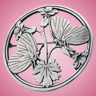 Georg Jensen Sterling Butterfly Flowers Brooch, design Arno Malinowski
