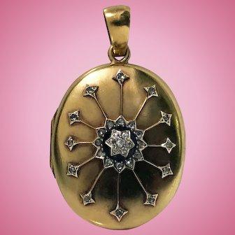 Antique 18K Diamond large Pendant Locket, C.1860.