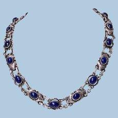 Georg Jensen Lapis and Sterling Silver Necklace, design No 57, C.1930