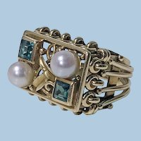 1970's 18K abstract pearl and emerald Ring