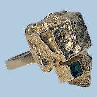 1970's Scandinavian Gold and Emerald abstract Ring