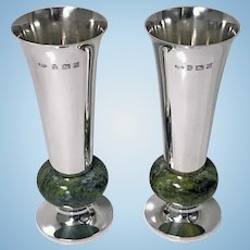 A E Jones Sterling Silver and Marble Vases, Birmingham 1972