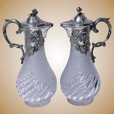 Pair of Art Nouveau Silver Glass Claret Jugs, Germany C.1900 Wilhelm Binder