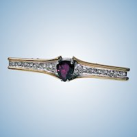 Signed Secrett Ruby Diamond Bar Pin