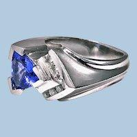 1970's Gold Tanzanite Diamond Ring