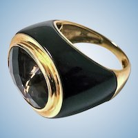 Gold Enamel Topaz Ring, 1970'S